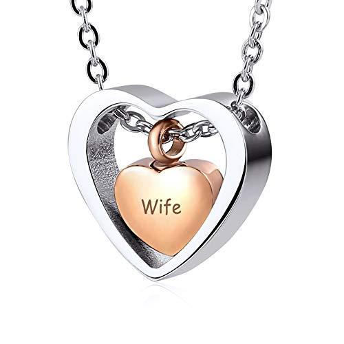 KnBob Edelstahl Halskette für Damen und Herren Rosegold Herz mit Gravur Wife Anhänger Halskette