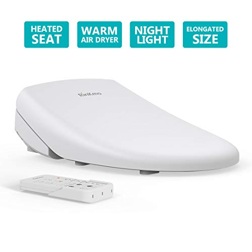 Rinkmo Bidet Toilet Seat Heated Bidet with Remote Control, Electric Smart Toilet Seat, Elongated White, Adjustable Heated Seat and Warm Water, Self Cleaning