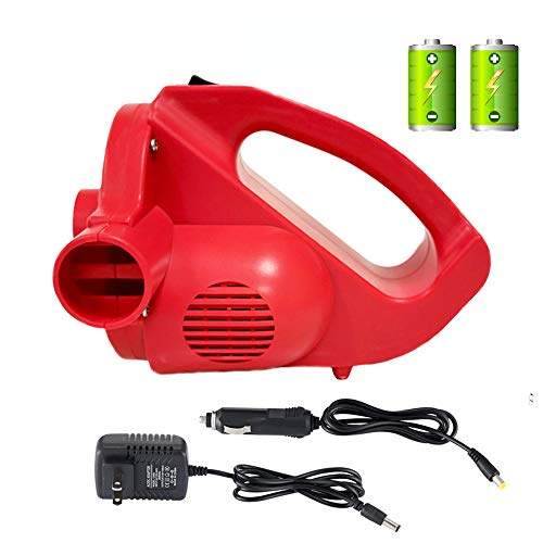 Rechargeable Air Pump with Electric Battery Powered&Operated - High Power, Cordless, AC,DC for Inflate/Deflate AC 110V/DC 12V with 3 Universal Nozzles for Pools Floats Air Mattress