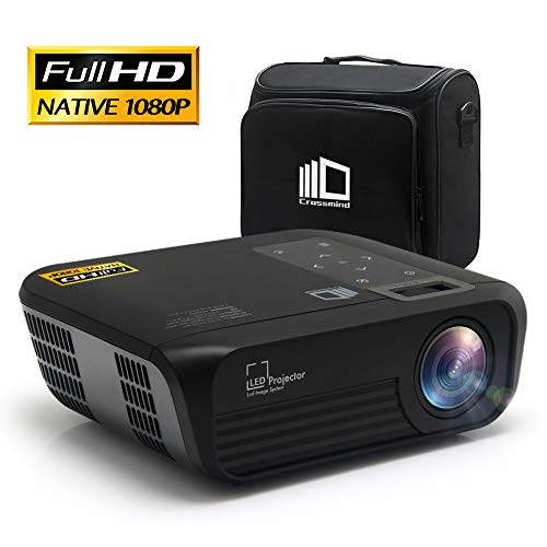 CROSSMIND Smart WiFi Projector, Portable Native 1080P Full HD LED Video Projector, 5500 Lumen Movie Projector with Wireless Casting,Black with Projector Storage Case