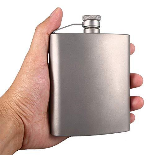 200ML Titanium Pocket Flagon - Draagbare Hip Flask - Flagons Camping Draagbare Alcohol Drink - Lekken/Draag Bewijs - voor Wijnsaus, Liquor Whiskey, Mannen Gift