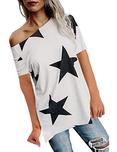 BUOYDM Donna Camicetta Estivo Camicia Casuale T-Shirt Basic in Cotone Senza Spalline Stampate Stella Maglietta Top Estate,Bianco,L