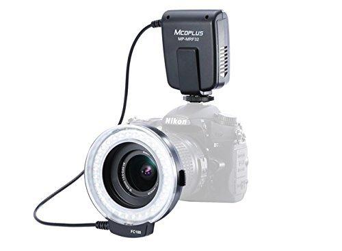 Mcoplus MRF32 - Anillo de Flash para cámara Digital Canon y Nikon (32 ledes, Incluye 7 Anillos adaptadores)