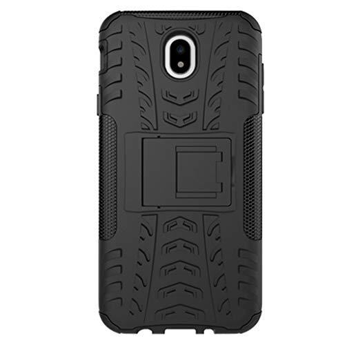 JINWU Custodia per Samsung Galaxy J7 2017, Alta qualità TPU e PC Custodie e Cover, Caso Protettivo Doppio Strato con Supporto per Samsung Galaxy J7 (2017) Versione Euro (Nero)