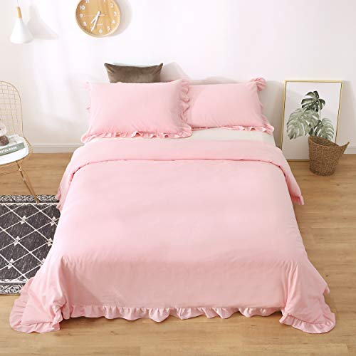 Meaning4 Egyptian Cotton Ruffles Pillow Shams Pink Queen Size 2Pieces 20×30 inch Soft Thick