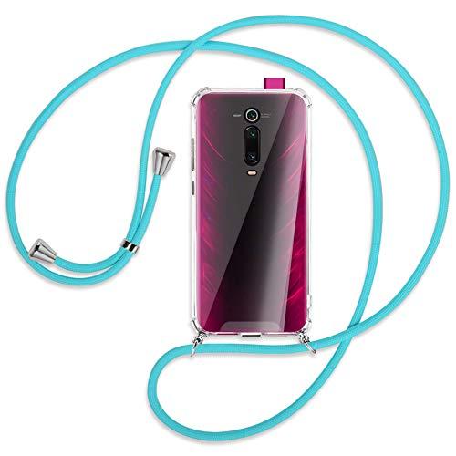 mtb more energy® Collar Smartphone para Xiaomi Mi 9T / Mi 9T Pro (6.39'') - Turquesa - Funda Protectora ponible - Carcasa Anti Shock con Cuerda