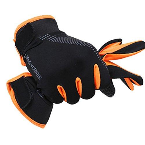 Teekit Para - Guanti da ciclismo con dita intere, per uomo, donna, MTB, traspiranti, estivi, taglia L, colore: arancione