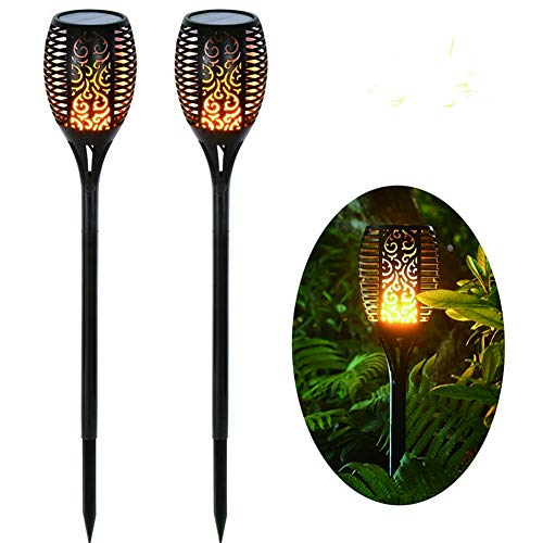 DJSDFHB Luz de Llama de antorcha Solar LED, Luces de Paisaje de césped de jardín de Patio de Villa Impermeable al Aire Libre (2)