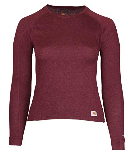 Carhartt Women's Force Heavyweight Thermal Base Layer Long Sleeve Pocket Shirt, Deep Wine Heather, X-Small