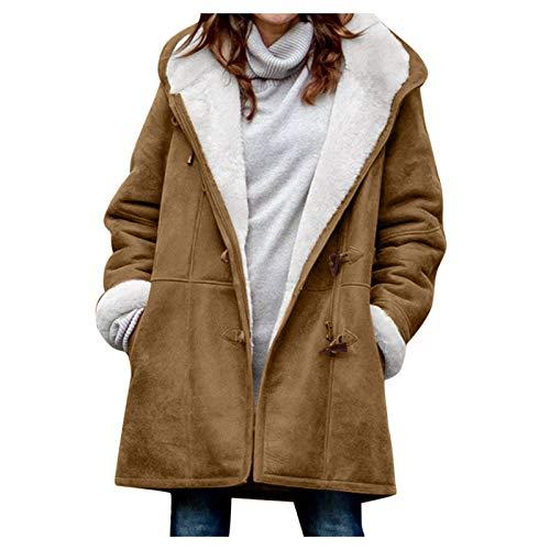 Womens Winter Warm Lapel Sherpa Fleece Coat Faux Fur Inside Down Denim Jacket Outwear