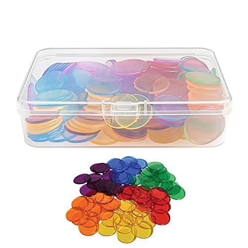 GZcaiyun - 200 fichas para bingo, 18 mm, de plástico, transparentes, para practicar el número de fichas de juego, con caja de almacenamiento (color aleatorio)