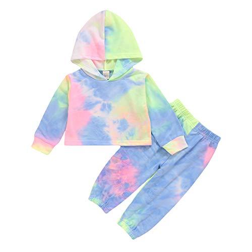 Baby Toddler Girls Tie Dye Hoodies Sweatshirt Crop Tops Sweatpants Summer Clothes for Girls Light Blue