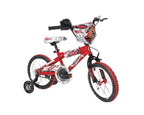 """Dynacraft Hot Wheels Boys BMX Street/Dirt Bike with Hand Brake 14"""", Red/White/Black """