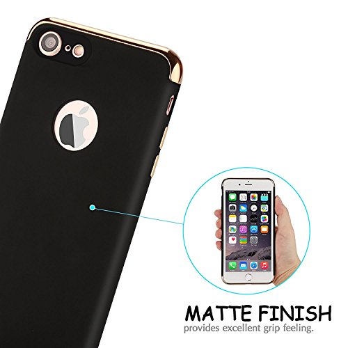 iPhone 7 Plus Case, MCUK 3 In 1 Ultra Thin and Slim Design Electroplate Frame with Non Slip Coated Surface Excellent Grip Case for Apple iPhone 7 Plus (5.5'')(2016) (Black)