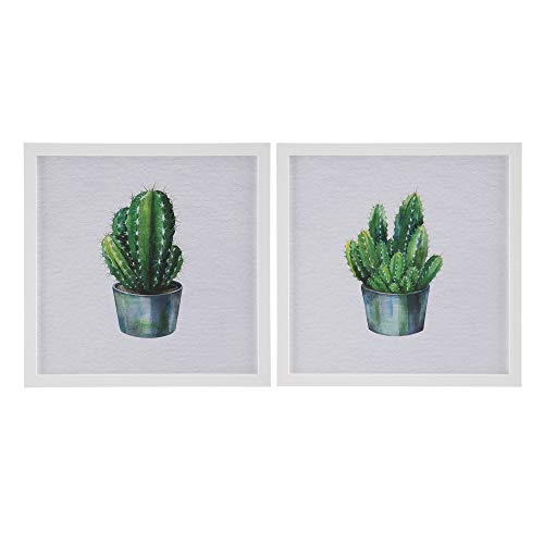 Set de 2 Cuadros de Cactus de metacrilato Gris y Blanco - LOLAhome