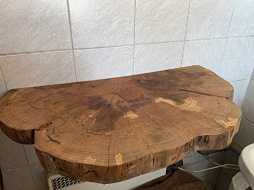 KJR Holzmanufaktur Waschtischplatte, Baumscheibe, ca. 90 x 40-45 x 5 cm, Waschtisch, geschliffen, geölt, Bergahorn