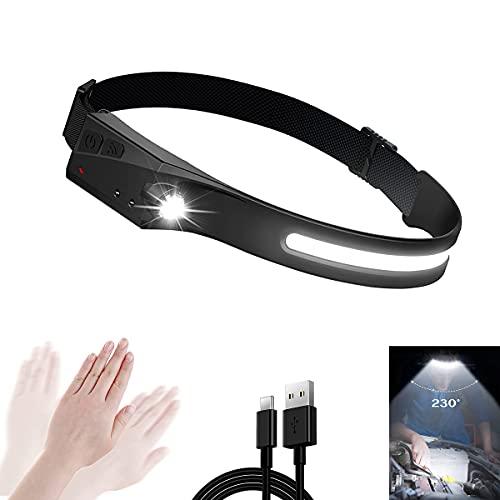 AMZCOM Linterna Frontal Sensor Movimiento, Linterna Cabeza LED Recargable USB Impermeable IPX4 Linternas Frontales para Correr, Acampar, Pescar, Ciclismo,1pcs