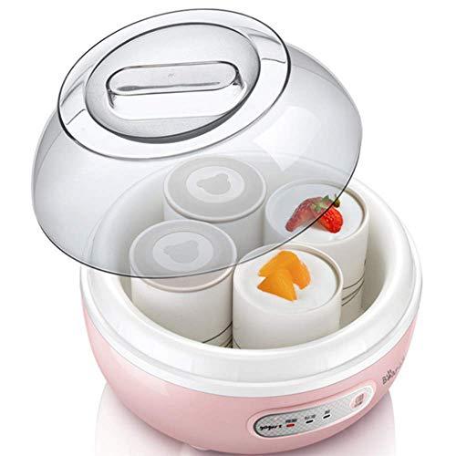 WLGQ Haushalts-Mini-Joghurtautomat, Mikrocomputer-Timing, Einteilige Steuerung mit 4 Gläsern, geeignet für Joghurtliebhaber von Büroangestellten