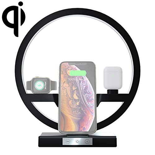 Fashion horloges Dfch N38 QI Verticaal Fast Draadloze oplader for mobiele telefoons en Apple Watch & AirPods, met LED-licht (zwart). (Color : Black)