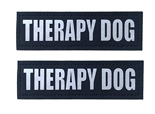 Albcorp Reflective Therapy Dog Patches with Hook Backing for Service Animal Vests /Harnesses Large (6 X 2) Inch