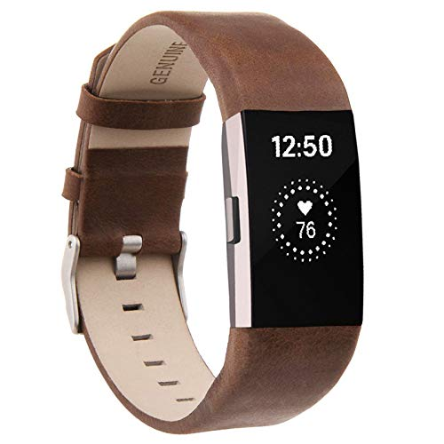 Compatible for Fitbit Charge 2 Bands, VOMA Genuine Leather Replacement Wristbands Bands for Fitbit Charge 2 HR Women Men Small Large Chobrn