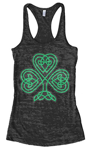 Threadrock Women's Celtic Shamrock Burnout Racerback Tank Top M Black
