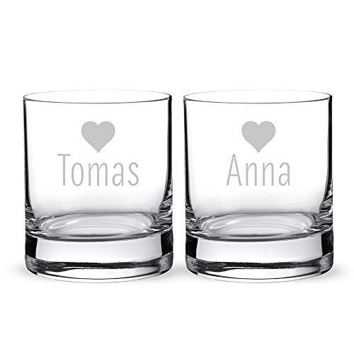 AMAVEL Set 2 Bicchieri da Gin con Incisione Romantica Personalizzabile con Nome, Motivo Cuori, Tumbler in Vetro Chiaro per Cocktail, Regali per Coppie, Dono di Nozze