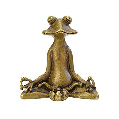 XQK Yoga Frosch Retro Messing Kleine Figuren Meditation Pose Sammler Skulptur Home Decoration Frosch Meditierende Statue Dekorativ 2 * 1,2 * 2,1 in