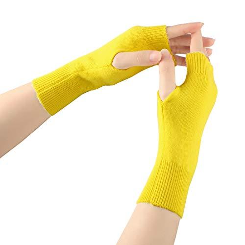 Larcele Warmer Guanti senza dita delle donne Cashmere BZST-02 (Giallo)