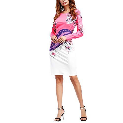 NOBRAND Verano Mujer Impreso Cuello Redondo Patrón Bolso cadera Slim Manga Larga Cuello Redondo Midi Vestido Moderno Casual Oficina Fiesta Mesa de Vestidor Blanco