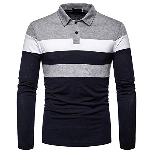 NLZQ Men's Casual Long Sleeve Lapel Slim Fit Polo Shirt Color Matching Golf T-Shirt Spring and Autumn New Comfortable Sport Casual Daily Wear Winter Bottoming Shirt S