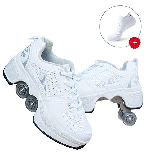 CNMF Rollschuh Roller Skates Lauflernschuhe,Sneakers,2in1 Mehrzweckschuhe Schuhe mit Rollen Skateboardschuhe,Inline-Skate,Verstellbare Quad-Rollschuh Stiefel Skateboardschuhe