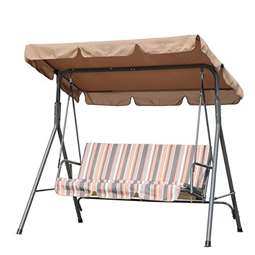 Angel Living 3 Seater Swing Chair with Adjustable Roof for Outdoor Garden Patio Balcony Poolside Park 169x110x152cm (Khaki)