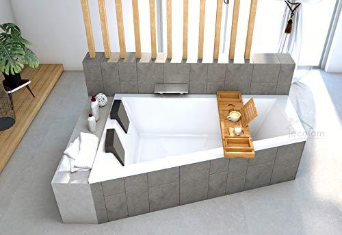 ECOLAM Intima Duo - Bañera esquinera para dos 180 x 125 cm izquierda + bandeja de bambú + 2 reposacabezas de desagüe y rebosadero automático pies de silicona – perfecto para dos personas