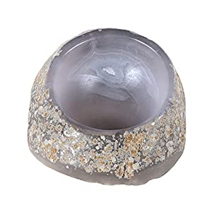 SUNYIK Polished Agate Jewelry Dish, Unique Natural Stone Bowl Jewellry Tray Decorative Collectible Trinket Ring Bracelet Necklace Coin Key Plate, Valentine's Day Gift