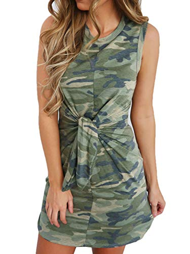 CHOiES record your inspired fashion Women's Casual Camouflage Print Tie Front Sleeveless Mini Dress Slim Fit M