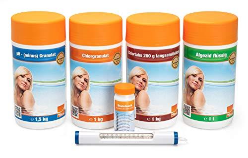 Steinbach Poolpflege Chlor Starterset, Starterset 6-teilig, Algezid, Chlorgranulat, Chlortabs, pH- (minus) Granulat, Thermometer, Teststreifen, 0759001TS