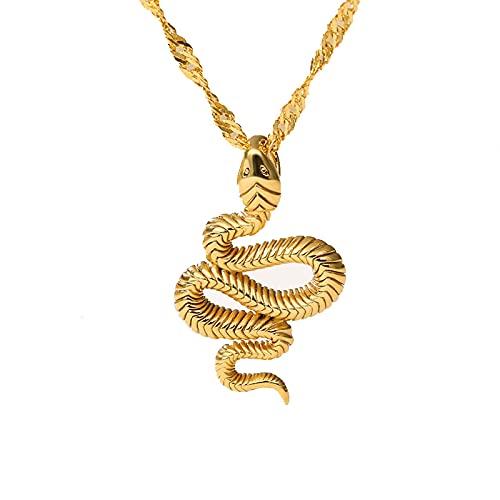 SWAOOS Collar de Serpiente de Color Dorado para Mujer, Collar con Colgante de Animal de Acero Inoxidable, Gargantilla Punk, joyería