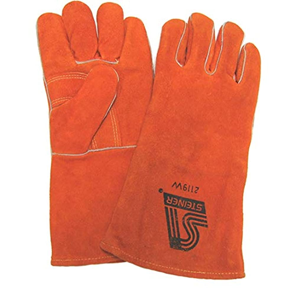 Amaco 11404S Heat-Resistant Gloves, Leather, Cowhide, Full-Cotton Lining