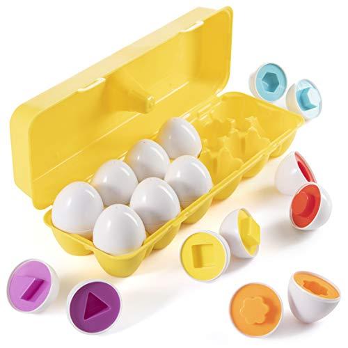 Prextex Il Mio Primo Trova e Abbina Uova da Abbinare con Portauova Giallo - Gioco Educativo STEM per Bambini e Bimbi Piccoli per Imparare Le Forme e i Colori, Set Pasquale