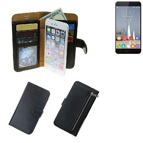 K-S-Trade® Schutzhüll Für Oukitel K6000 Plus Schutz Hülle Portemonnaie Case Phone Cover Slim Klapphülle Handytasche E Handyhülle Schwarz Aus Kunstleder (1 STK)