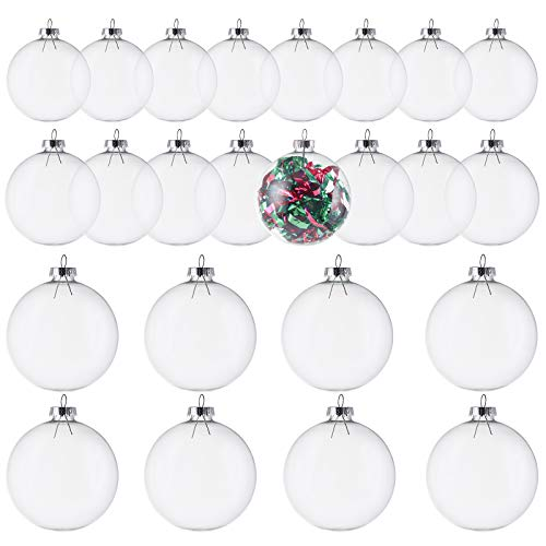Kingrol 24 Pack Glass Ornament Balls, Fillable Ornaments for DIY Craft Projects, Christmas, Wedding, Party, Home Decor