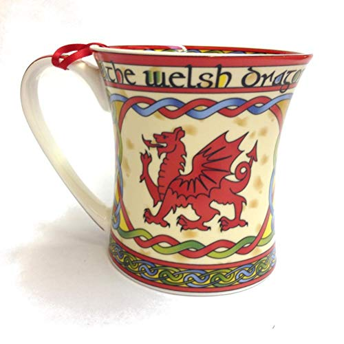 Welsh Dragon Coffee Mug Cymru - Wales Celtic Design New Bone Chine Cup Ceramic - 11 oz