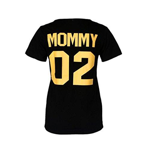 OVERDOSE ❤❤ Daddy 01**Mommy 02**Kid 03**Baby 04Parentage Kleidung Familie Tops Suiten Letter Printing Damen Herren Baby Mädchen Jungen Blusen Tops T-Shirt (S, Mommy-Schwarz)