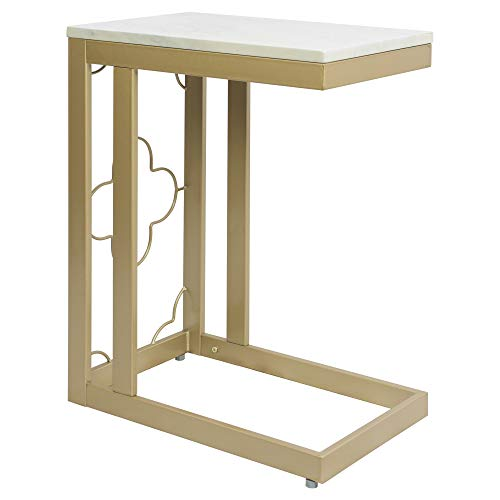 Silverwood Side Table, Gold & Faux Marble