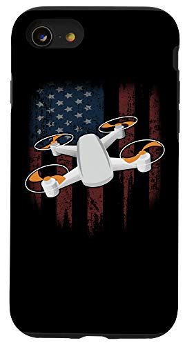 iPhone SE (2020) / 7 / 8 Drone Distressed American Flag Quadcopter Gift Drones Fan Case