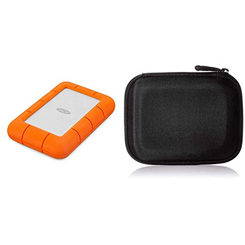 LaCie LAC9000633 Rugged MINI Hard Disk Esterno, 4 TB (2 x 2), Arancione/Grigio & Amazon Basics Custodia rigida per Western Digital My Passport Essential