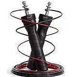 Fit&Mouv Corde à sauter, Corde à sauter Fitness,Gym,Amélioration Cardio Adulte, Entrainement saut, Kit Cardio Training, Reglable, 2 Câble Corde à Sauter Crossfit+ Sac Pratique+Pièces de rechange.