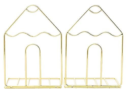 Lzpzz 2 unids/Pares Creative Storage Holder Shelf House Formado Metal Sookends Book Soporte Soporte Escritorio Organizador Oficina Inicio Suministros-Oro (Color : Gold)