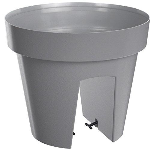 Deuba Geländerkasten Balkonkasten Blumentopf | Grau | 5 Liter | Frostbeständig | UV-Beständig | 2 getrennte Pflanzkammern